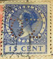 NETHERLANDS/HOLLAND-QUEEN WILHELMINA ,PERFIN.-USED STAMP - 1891-1948 (Wilhelmine)