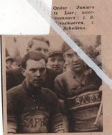 LIER..1936.. JUNIORES TE LIER OVERWINNAARS VERSCHUEREN EN SCHELLENS - Vecchi Documenti