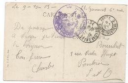 AUBE TROYES CARTE + CACHET DOUBLE CERCLE POSTES BUREAU FRONTIERE E 9 OCT 1915 - 1. Weltkrieg 1914-1918
