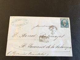 Courrier Commerce VIN - 1868 - STRASBOURG à  ST LAURENT DE SENANQUE Par LYON MARSEILLE PERPIGNAN - Timbre 20c  Y&T N°22 - Marcophilie (Lettres)