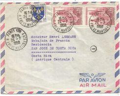 BLASON 5FR SAINTONGE + N°1129 PAIRE LETTRE AVION PARIS 128 24.7.1958 POUR GUATEMALA AU TARIF - 1941-66 Armoiries Et Blasons