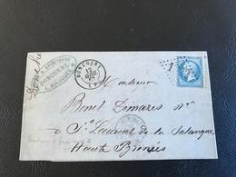 Courrier Commerce VIN - 1867 - DONCHERY à  ST LAURENT DE SENANQUE Par GIVET BORDEAUX IRUN - Timbre 20c  Y&T N°22 - Marcophilie (Lettres)