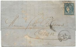 BORDEAUX 20C TOUCHE LETTRE GC 5005 ALGER ALGERIE 7 JANV 1871 B/TB - 1849-1876: Klassik