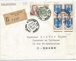 BLASON 25C MONT DE MARSAN BLOC DE 4+ N°1469 LETTRE REC CHALONS MARNE 15.3.1966 AU TARIF - 1941-66 Armoiries Et Blasons