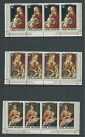 Cook Islands 1978 Christmas Paintings Set Of 3 In Marginal Strips Of 4 With Inscription MNH - Cook Islands