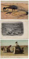 LOT DE 3 CPA   SCENES DU DESERT  -  LES DUNES DE SABLE - DESERT SAHARA  -  CARAVANE DANS LE DESERT - Algeria
