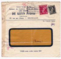 Censure Seconde Guerre Mondiale WW2 Belgique 1941 Bruxelles Censor Fabrique De Couleur Vernis Emaux De Keyn Frères - Belgium