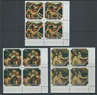 Cook Islands 1976 Easter Paintings Set Of 3 In Matched Marginal Blocks Of 4 MNH - Cook Islands