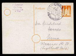 A6726) Bizone Ganzsache Mi.P1 Von Unna 23.04.50 Mit Interessanter Abart - American/British Zone