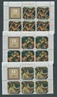 Cook Islands 1976 Easter Paintings Set Of 3 In Matched Marginal Blocks Of 5 With Label MNH - Cook Islands