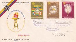 Italy 1960 Cover; Football Fussball Soccer; Bolivar Games Barranquilla; Torch Relay; Flags Of Participating Countries - Football