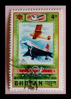 110. BHUTAN (4CH) 1974 USED STAMP U.P.U.  PLANES. - Bhoutan