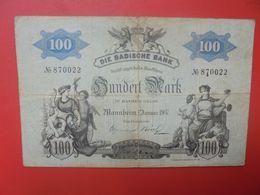 BADISCHE BANK 100 MARK 1907  Circuler (B.17) - [ 2] 1871-1918 : Impero Tedesco