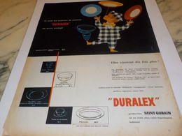 ANCIENNE PUBLICITE ASSIETTE DE COULEUR  DURALEX 1956 - Autres