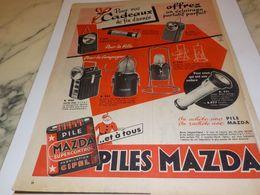 ANCIENNE PUBLICITE CADEAU DE FIN D ANNEE  PILE MAZDA  1954 - Autres