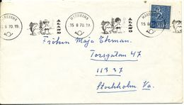 Finland (Aland) Cover Sent To Sweden Mariehamn 15-8-1970 Single Franked - Finlande
