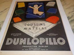 ANCIENNE   PUBLICITE SUCCES COUSSINS ET MATELAS  DUNLOPILLO  1954 - Autres