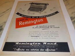 ANCIENNE PUBLICITE MACHINE A ECRIRE ELECTRIQUE REMINGTON    1954 - Afiches