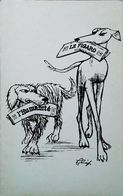 Carte Satirique - L'Humanité Et Le Figaro - Tirage Limité 500 Ex - Illustration Actualité Flip - (Lévrier Greyhound) - Sátiras