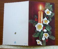 Candela Con Fiori Natale Christmas Noel Navidad - BIGLIETTO AUGURI 1979/1980 - Vieux Papiers