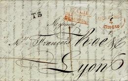 1829- Lettre De PIACENZA ( Plaisance )  T S  + ITALIE /P.LEPONT DE / BEAUVOISIN Encadré Rouge - Storia Postale