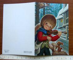 Bambino Suona Violino Illustratore Peralta Natale Christmas 1974 BIGLIETTO AUGURI Vintage - Vieux Papiers