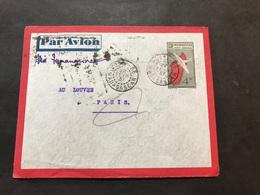 Lettre Entier Madagascar Par Avion 1937 Nossi-Be Pour Magasin Du Louvre Paris - Cartas