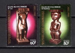 GABON N° 446 + 447   NEUFS SANS CHARNIERE COTE  2.00€  NOEL STATUE - Gabon