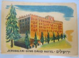 AMERICAN DECALCOMANIA COMPANY 1950'S KING DAVID HOTEL JERUSALEM ISRAEL LABEL ETIQUETTE AUFKLEBER DECAL STICKER ETIQUETA - Autres Collections