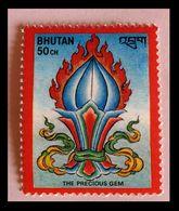110. BHUTAN (50CH) 1986 STAMP BUDDHIST SYMBOL - PRECIOUS GEMS . MNH - Bhoutan