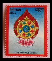 110. BHUTAN (30CH) 1986 STAMP BUDDHIST SYMBOL - PRECIOUS WHEEL . MNH - Bhoutan