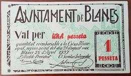 Billet 1 Pesseta 1937 ESPAGNE Ajuntament De Blanes - Guerre Civile Espagnole - 1-2 Pesetas