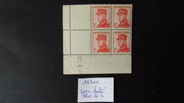 MONACO N° 163 **  COIN DATE  Du 29/4/38  - BLOC DE 4 - Unused Stamps