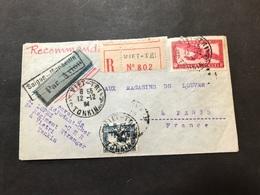 Lettre Indochine Par Avion 1934 Viet-tri Tonkin Pour Paris - Indochina (1889-1945)