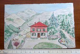 Paesaggio Dipinto A Mano 1941 BIGLIETTO PARTECIPAZIONE NOZZE  - Pinerolo Torino - Wedding