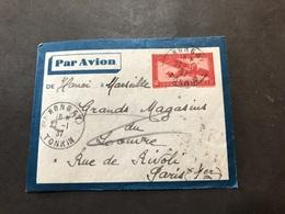 Lettre Entier Indochine Par Avion 1937 Hongay Tonkin Pour Paris - Indochina (1889-1945)