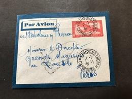 Lettre Entier Indochine Par Avion 1936 Kompongthom Cambodge Pour Paris - Indochina (1889-1945)
