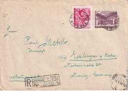 POLOGNE 1954 LETTRE RECOMMANDEE DE ZWIERADOW AVEC CACHET ARRIVEE ESSLINGEN - Covers & Documents