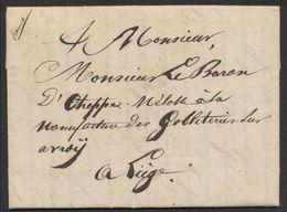 """Précurseur - LAC Datée De Ben (Huy, 1832) + Manusc. """"franco"""" > Liège. - 1830-1849 (Belgique Indépendante)"""