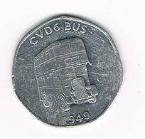 //  20 PENCE NATIONAL TRANSPORT TOKEN - CVD BUS 1949 - Monetari/ Di Necessità