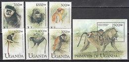 Uganda - Correo Yvert 1745/50+H 303 ** Mnh  Fauna - Uganda (1962-...)