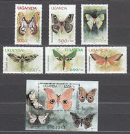 Uganda - Correo Yvert 1797/802+H 308 ** Mnh  Fauna Mariposas - Uganda (1962-...)