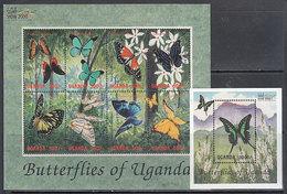 Uganda - Correo Yvert 1842/9+H 313 ** Mnh  Fauna Mariposas - Uganda (1962-...)