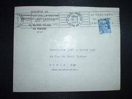LETTRE TP M. DE GANDON 15F OBL.MEC.18-2 1955 LE HAVRE PRINCIPAL (76) VIe FOIRE EXPON DU HAVRE 29 AVR 15 MAI 1955 - Marcophilie (Lettres)