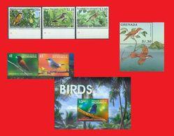 Tonga 2013, Micronesia 2015, Grenada 1996, Songbirds Birds / Oiseaux  MNH ** - Uccelli Canterini Ed Arboricoli