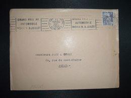 LETTRE TP M. DE GANDON 5F OBL.MEC.11 JUIL 1951 LE HAVRE PRINCIPAL (76) GRAND PRIX INT. AUTOMOBILE ROUEN 8 JUILLET - Marcophilie (Lettres)