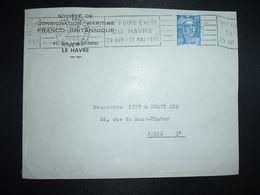 LETTRE TP M. DE GANDON 15F OBL.MEC.26-1 1955 LE HAVRE PRINCIPAL (76) VIe FOIRE EXPON DU HAVRE 29 AVR 15 MAI 1955 - Marcophilie (Lettres)