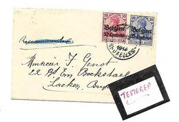 Carte Visite  Recom. Geschrapt/bifée  2.XI.1914 Bruxelles Naar Laeken  10+25 Centimes - Guerre 14-18