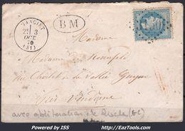 FRANCE EMPIRE N° 29B SUR LETTRE POUR VENDOME GC 3150 RISCLE GERS + CAD DE MANCIET 03/10/1870 + BM - 1863-1870 Napoleon III With Laurels