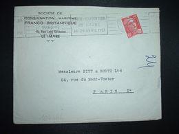 LETTRE TP M. DE GANDON 15F OBL.MEC.23 MARS 1951LE HAVRE PRINCIPAL (76) FOIRE EXPOSITION DU HAVRE 14-29 AVRIL 1951 - Marcophilie (Lettres)
